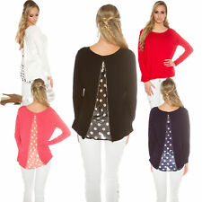Ladies 2-in-1 Pullover Sweater Sweater Crepe Insert Zipper Polka Dots S 34 36 38