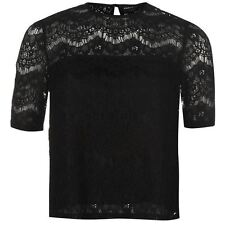 Firetrap Lace Top Ladies T Shirt Long Sleeve Womens