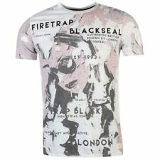 Firetrap Blackseal Distressed Plaster T Shirt Crew Neck Mens