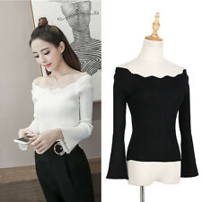 Women Lady Off Shoulder Knitted Top Flare Sleeve Pullover Blouse Shirt Sexy