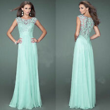 Women Chiffon Maxi Formal Party Prom Long Lace Ballgown Evening Bridesmaid Dress