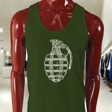 VINTAGE GRENADE ARMY MILITARY SPECIAL FORCES BOMB Mens Military Green Tank Top