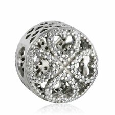 authentic sterling-silver Charms Pave CZ Petals Love Four Leaf Clover Charm Bead