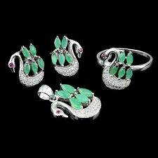 NATURAL 5X2.5mm/6X3mm MARQUISE GREEN EMERALD,WHITE-CZ SOLID 925 SILVER DUCK SET