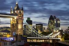Tower Bridge and the City of London at Night, London, England, United Kingdom,