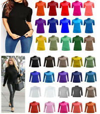Womens Polo Turtle Neck Short Sleeve Leotard T shirt Ladies Top Size 8-26