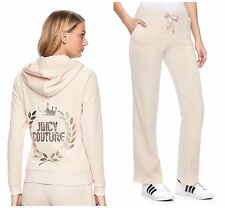 NWT Juicy Couture Tracksuit Velour Embellished Bootcut Pants Cream XS S M L XL