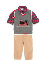 New Boys GOOD LAD 3 Piece Holiday Christmas Train Sweater Vest Set 12 18 24 MO