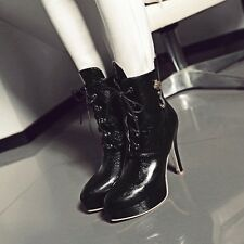 Womens Leather Lace Ups High Stiletto Heels Platforms Solid Ankle Boots Shoes