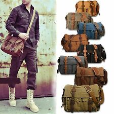 Men's Vintage Canvas Leather Messenger Bag Satchel School Military Shoulder Bag
