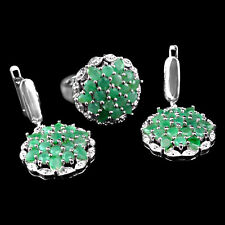 BEAUTEOUS REAL 3mm/4X3mm TOP RICH GREEN EMERALD STERLING 925 SILVER JEWELRY SET