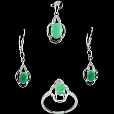 ALLURING! NATURAL 4.35 Cts AAA RICH GREEN EMERALD,WHITE-CZ SOLID 925 SILVER SET