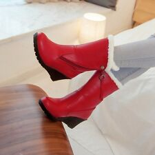 Womens Leather Pull On High Wedge Heels Mid-calf Winter Snow Warm Casual Boots