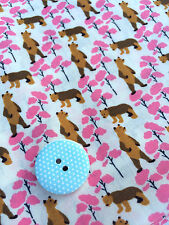 'Forest Bears' Javanaise Viscose Dressmaking Fabric Material Pink Trees Kitsch