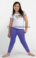 Pyjamas Girls Summer Long (sz 3-7) PJs Set Purple Stripe Heart Sz 3 4 5 6 7