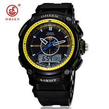 OHSEN Waterproof Mens Digital LCD Sport Black Rubber Date Day Quartz Wrist Watch