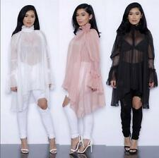 Cheap New Sexy Big Chiffon Blouse Dress Code Sunscreen Lace Cuff Irregular Skirt
