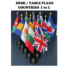 """Desk Table flag with plastic pole & base. 6"""" x 4"""" flag. Countries I-L."""