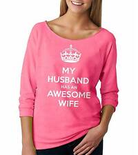 Wife Funny Raglan French terry Anniversary 3/4 Sleeve Top Birthday Womens Top