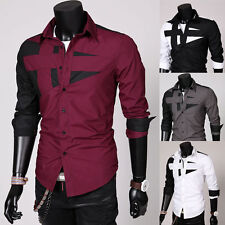 Men Sexy Slim Fit Color Patchwork Shirt Turn-down Collar Long Sleeve Top Peachy