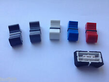10 x Audio mixer Fader / Slider Knob Standard 4mm Fit, Black Red Blue Gray White