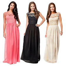 Women Long Lace Chiffon Evening Formal Party Cocktail Dress Bridesmaid Gown S-XL