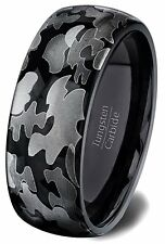 Tungsten Ring Black Camo Polished Dome 8mm Comfort Fit..