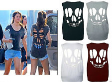 WOMENS SLEEVELESS LASER CUT OUT BACK SKULL VEST LADIES T SHIRT LOOSE FIT TOP