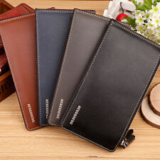 MEN FASHION FAUX LEATHER ZIPPER ID CREDIT CARD HOLDER BIFOLD LONG WALLET HONEST
