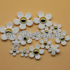 Acrylic White Pastel Floral Buttons Daisy Flower Beads Art Sewing Design DIY
