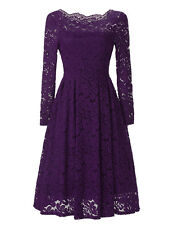 Vintage Women's Crochet Lace Evening Party Cocktail A-line Swing Wiggle Dress