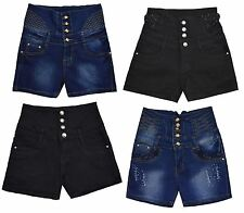 Womens Ladies High Waisted Denim Hotpants Shorts Distressed Ripped Pants