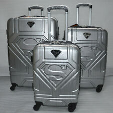 "20""24""inches Silver Superman Boarding Suitcase Luggage Wheels Trolley ABS travel"