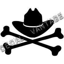 Cowboy Hat  with Crossbones Vinyl Sticker Decal Country - Choose Size & Color