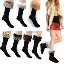 Faux fur Snow Socks Leg Warmer Stocking Fur Cover Cuff Boots Shoes Women OK