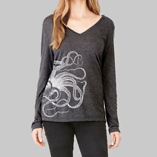 Womens Long Sleeve Tops - T Shirt, V Neck Shirts, Octopus Tee, Bella Flowy