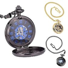 Classic Antique Steampunk Windup Mechanical Gear Mens Pocket Watch Chain Gifts