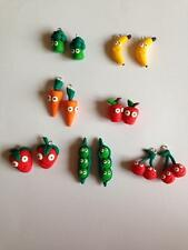 10 Vegetable Fruit Carrot Banana Peas In Pod Broccoli Cherries Apple Fimo Charms