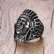 Vintage Men's Stainless Steel Indian Chief Head Shield Punk Biker Ring Jewelry