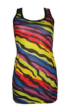 Funky Multi Coloured Zebra Animal Print Long Vest Top Racer Back