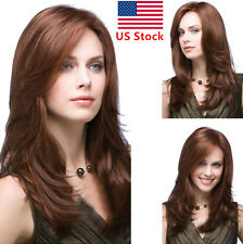 21.6inch Women Ladies Dark Brown Middle Long Cropped Straight Full Wig / Wig Cap