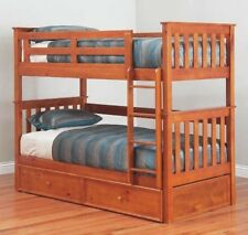 Fort SINGLE Timber Bunk Bed With/Without Trundle Kids Children Bedroom Furniture