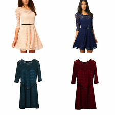 Women Summer Dresses Sexy Spoon Neck 3/4 Sleeve Skater Lace Dress With Belt R4L9