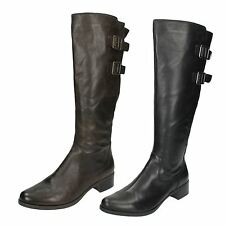LADIES CLARKS LEATHER D FIT ZIP UP BUCKLE RIDING KNEE HIGH BOOTS LIKEABLE ME