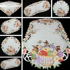 Spring Easter bunnies eggs Embroidery Table runner Tablecloth Doily White