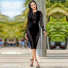 Sexy Women Ladies Black Floral Lace Long Sleeve Bodycon Party Evening Midi Dress