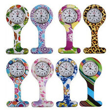Fashion Patterned Silicone Nurses Brooch Fob Pocket Watch Stainless Dial style