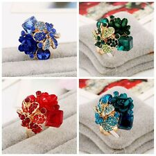 Jewelry Party Lady Resin Flower Crystal Adjustable Ring Colorful