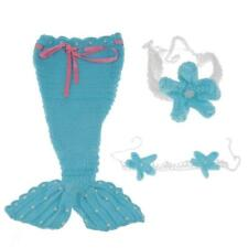 Newborn Mermaid Cover Crochet Knit Headband Set Baby Girl Photo Prop Costume