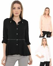 Ladies Womens 100% Cotton Shirt Top Zip Trimming Work Office Collared Blouse